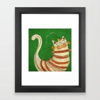 Cat - green Framed Art Print