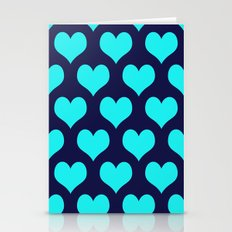 Hearts of Love Navy Turquoise Stationery Cards