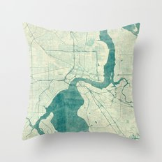 Jacksonville Map Blue Vintage Throw Pillow