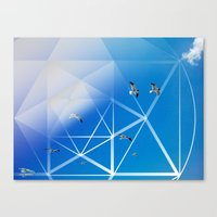 Gulls In Hexagram Flight Canvas Print