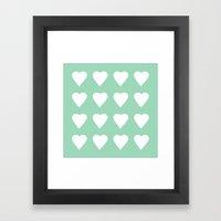 16 Hearts Mint Framed Art Print
