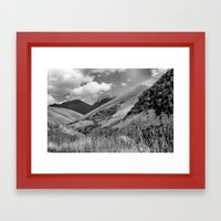 Mountains, Village, Sky. Framed Art Print