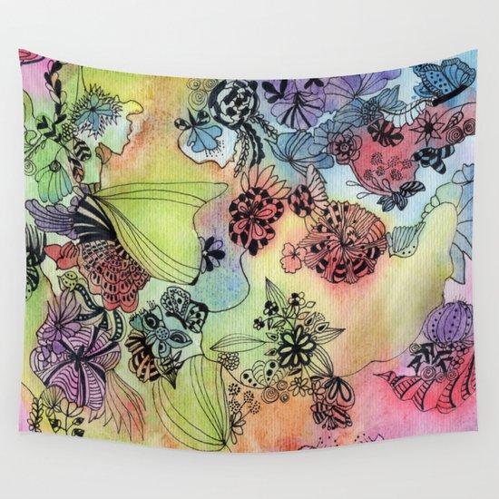 Kitchen Window Uptown Coffee Festival 2016: Sweet Doodle Flowers Wall Tapestry By Heaven7