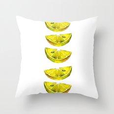 Lemon Slices White Throw Pillow