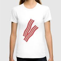 #8 Bacon Womens Fitted Tee White SMALL