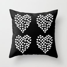 Hearts Heart x2 Black Throw Pillow