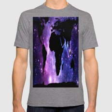 World Map Galaxy  Mens Fitted Tee Tri-Grey SMALL