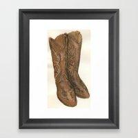 Watercolor Cowboy Boots Framed Art Print