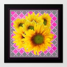 Decorative Yellow Sunflowers Pink-Black Art Canvas Print