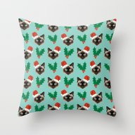 Siamese Cat Cute Christm… Throw Pillow