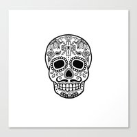 Mexican Skull - White Edition Canvas Print