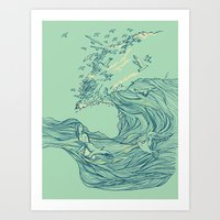 ocean Art Prints featuring Ocean Breath by Huebucket