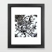 Forget Me Not Black & White  Framed Art Print