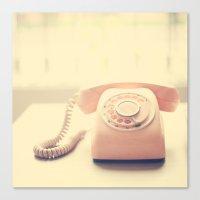 Pink Retro Telephone on Yellow Background  Canvas Print