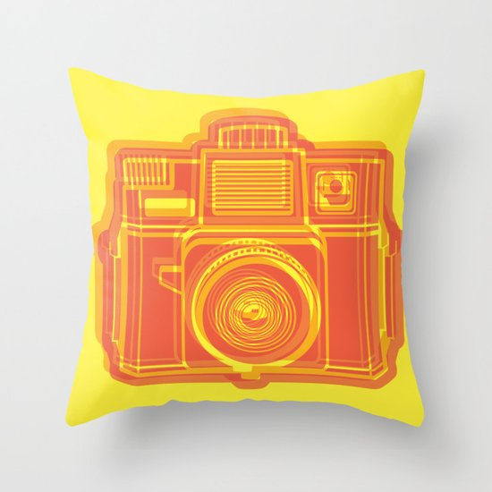 I Still Shoot Film Holga Logo - Yellow & Red Throw Pillow