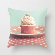 Pastel Blueberry Cupcake Throw Pillow