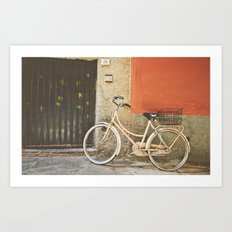 Beige Bicycle - Cinque Terre Art Print
