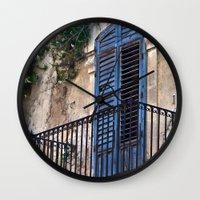 Blue Sicilian Door On Th… Wall Clock