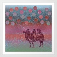 camel on the moon Art Print