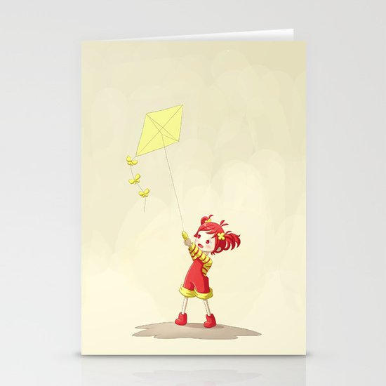 Girl with Kite Stationery Card