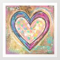 blue and pink hearts Art Print