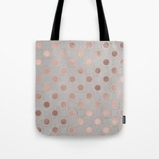 Rosegold polkadots on grey backround 1 Tote Bag