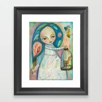 Free To Fly - Girl And B… Framed Art Print