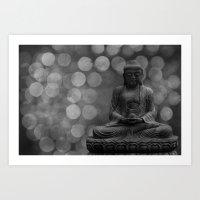 Buddha Light (gray) Art Print