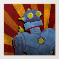 Retro Robot with Yellow Bird Canvas Print