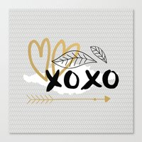 xoxo grey Canvas Print