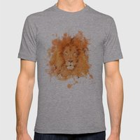 Splatter Lion Mens Fitted Tee Athletic Grey SMALL
