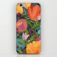 Flowers on Blue iPhone & iPod Skin