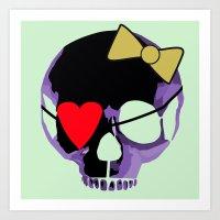 Purple Skull Heart With … Art Print
