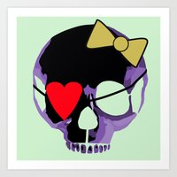 Purple skull heart with bow Art Print