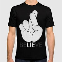 Finger Crossed Mens Fitted Tee Black SMALL