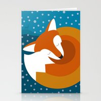 Sleeping Fox In Winter Stationery Cards