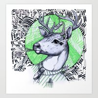 Deer In Dress Code  Art Print