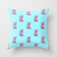 Crazy Cat (Pink/Blue)  Throw Pillow