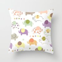Patterned Elephant Print Throw Pillow
