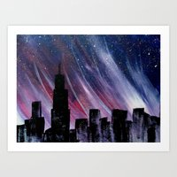 chicago Art Prints featuring Chicago by Tesseract