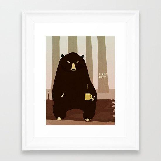 Bear Enjoys Coffee Framed Art Print