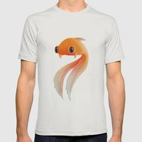 Little Fish Coy Koi Mens Fitted Tee Silver SMALL