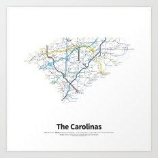 Highways of the USA – The Carolinas Art Print