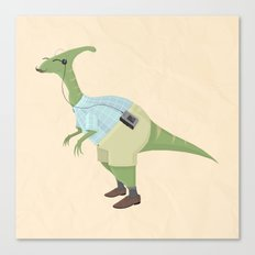 Hipster Dinosaur jams to some indie tunes on his walkman Canvas Print