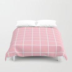 Grid (White/Pink) Duvet Cover
