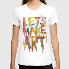 LET'S MAKE ART Womens Fitted Tee White SMALL