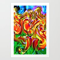 Twisted Tulips Art Print