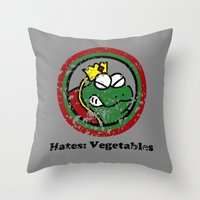 Hates: Vegetables (Battl… Throw Pillow