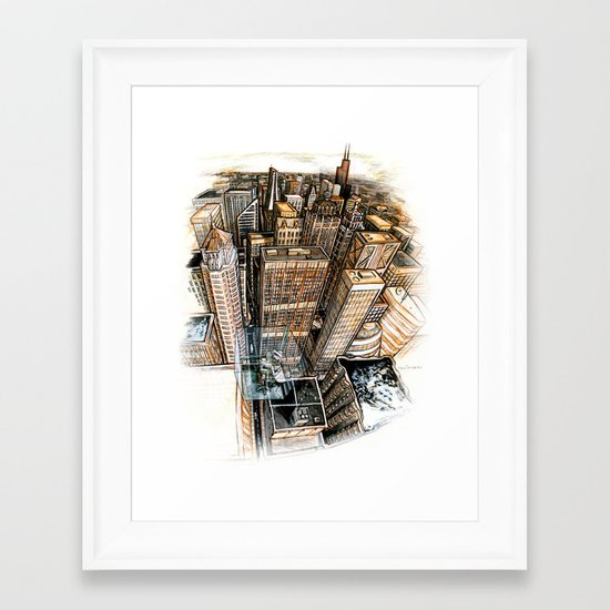 A cube with a view Framed Art Print