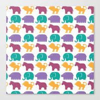 Fun At The Zoo: Pattern Canvas Print